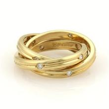 Cartier Trinity Diamonds 18k YGold 3mm Grooved 3 Band Ring Size 50-US 5.25