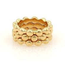 Chanel Set of 3 Beaded Stack Band Rings in 18k Yellow Gold Size 6