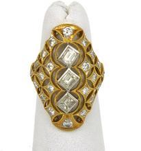 Vintage 18k Two Tone Gold1.70ctw Diamonds Fancy Open Design Cocktail Ring