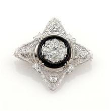 Art Deco 1.70ct Diamonds Platinum & 14k White Onyx Filigree Brooch Pin