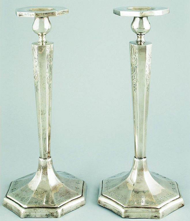 A pair of British silver Art Deco  candlesticks