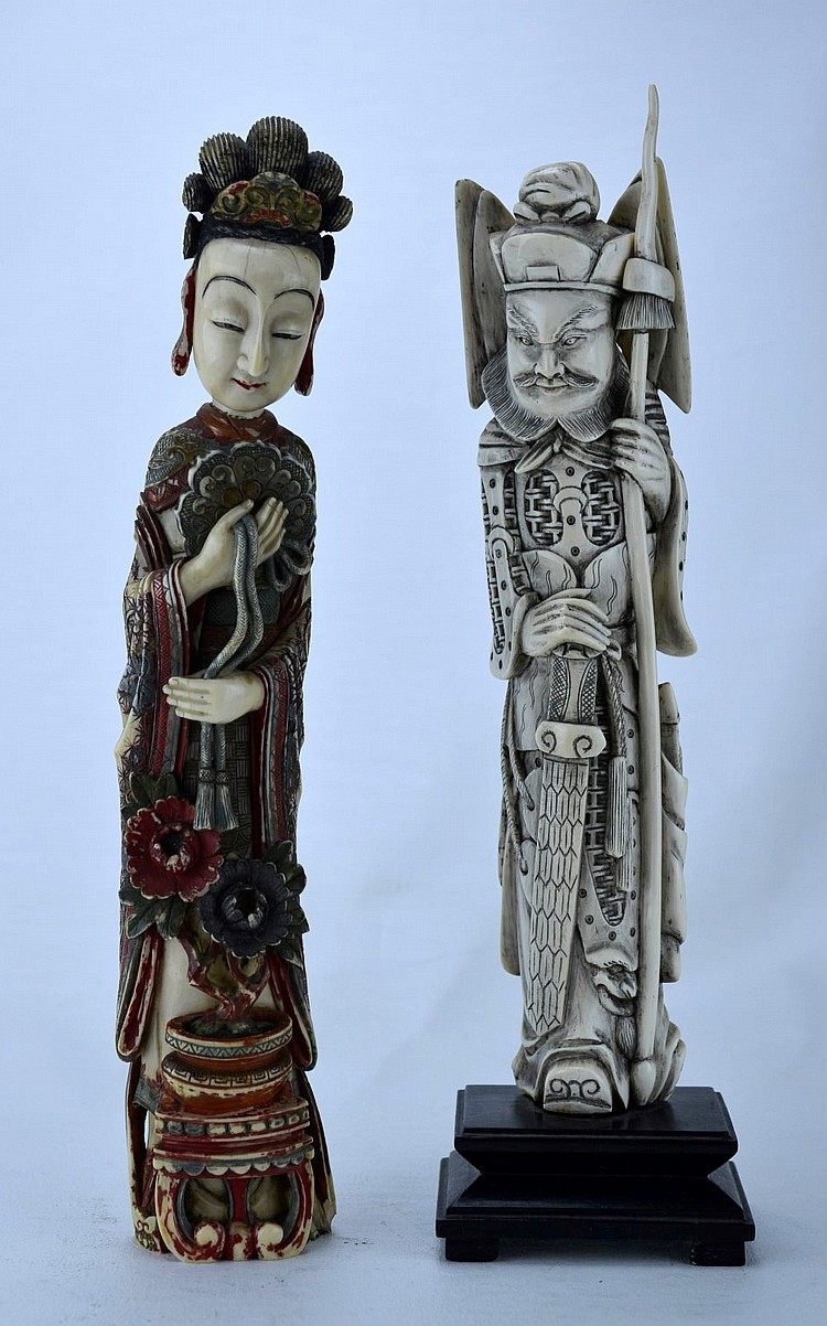 18th-19th C Set of Two Finely Carved Ivory Figures