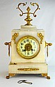 FRENCH Antique gilt bronze and marble mantel clock