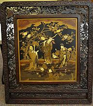 Large Japanese Carved Wood & Mother of Pearl Panel