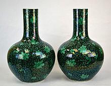 Pair of Massive Chinese Porcelain Bottle Vases