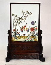 Chinese Porcelain Plaque on Carved Hardwood Stand