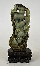 19th Century Chinese Celadon Jade Carving
