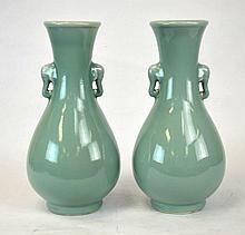 Pair of Chinese Porcelain Celadon Elephant Vases