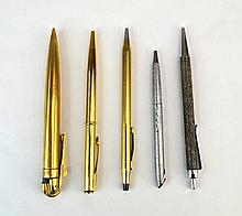 Lot of Five Silver or Gold Plated Pens