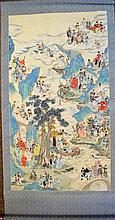 Colorful Chinese Scroll Painting of Immortals