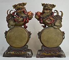 Pair Of Chinese Porcelain Foo Dog Figures
