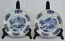 Two Chinese Blue, White, & Gold Plates