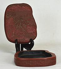 19th c. Chinese Carved Red Lacquer Box
