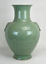 19th c. Chinese Celadon Vase with Floral Pattern