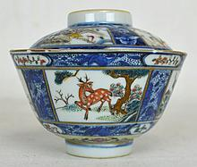 19th c. Chinese Porcelain Rice Bowl with Lid