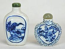 Two Chinese Blue & White Snuff Jars w/ Jade