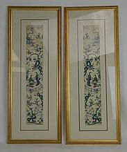 Pair of 19th c. Chinese Embroidered Silk Pictures