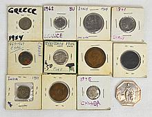 12 Canadian, European, Indian coins