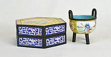 Two 19th c. Chinese Enameled Bronze Pieces; Box