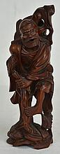 19th c. Chinese Hardwood Carving of Man with Cane