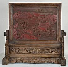 18th c. Cinnabar and Wood Chinese Table Screen