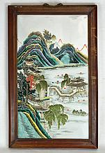 Early 19th c. Framed Chinese Famille Rose Porcelai
