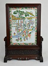19th c. Chinese Table Screen With Porcelain Plaque