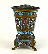 French Enamel Vase Stands on Four Legs
