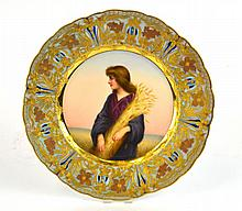 Portrait Plate of Ruth w Opalescent Border