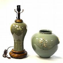 Set of Two Korean Porcelain Jar Vase and Lamp Base