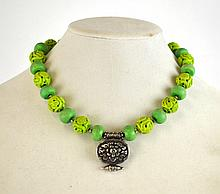 Chinese Turquoise Beads Necklace w/ Silver Pendant