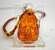 Chinese Carved Amber Buddha Necklace
