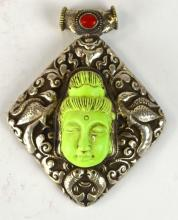 Chinese Silver & Turquoise Buddha Head Pendant