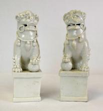 Chinese Porcelain Blanc-de-Chine Lion Figures