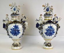 Pair Tall Porcelain Lidded Vases Possibly Italian