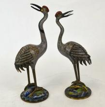 Pair of Chinese Enameled Metal Crane Figures
