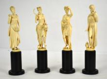 Four Carved Bone Statues of Seasonal Figures