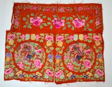 Chinese Embroidered Red Silk Panel
