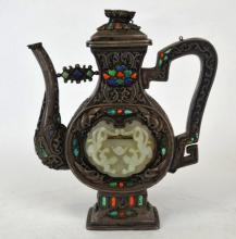 Chinese Jeweled Metal Teapot with Jade Insert