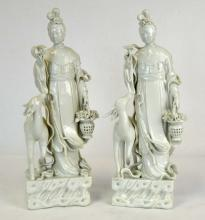 Chinese Porcelain Blanc-de Chine Female Figures
