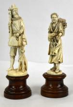 Two German Carved Bone Figures on Pedestals