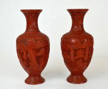 Pair of Chinese Carved Red Cinnabar Vases