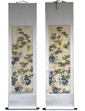 Two Chinese Embroidered Silk Scrolls