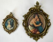 Two Framed Prints on Silk