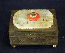 Chinese Bronze & Carved Jade Box