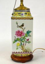 Early 20th Cen. Chinese Famille Rose Vase Lamp