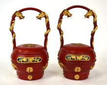Pair Of Red Lacquer Food Carriers