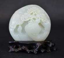 Chinese Carved White Jade Landscape Sculpture