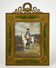 Miniature Napolean Enamel Plaque w, Frame