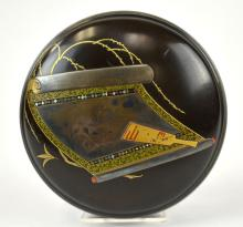 Japanese Inlaid Lacquer Circular Covered Box